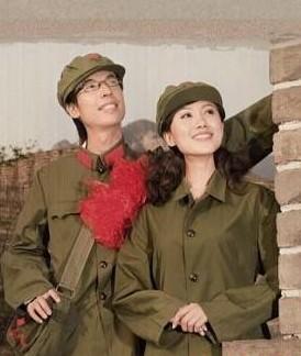 温老一代时尚 军装结婚照
