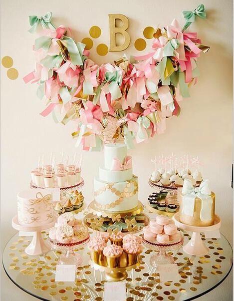 婚礼甜品台图片 小清新甜品区布置