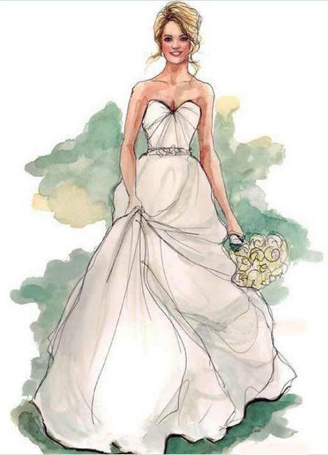 手绘婚纱礼服设计图 演绎魅力新娘