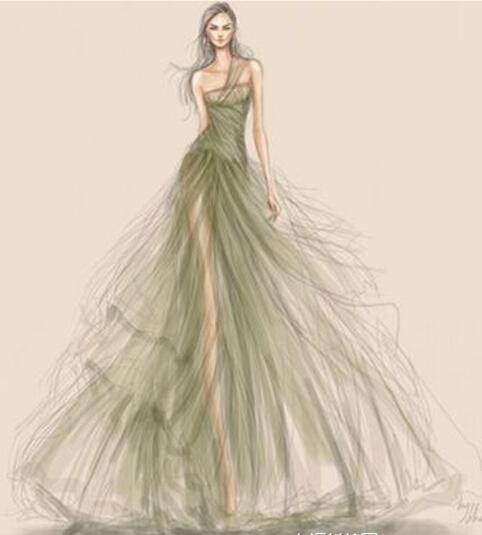 手绘礼服设计图 婚纱展示