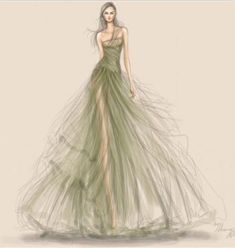 手绘婚纱礼服设计图教程展示