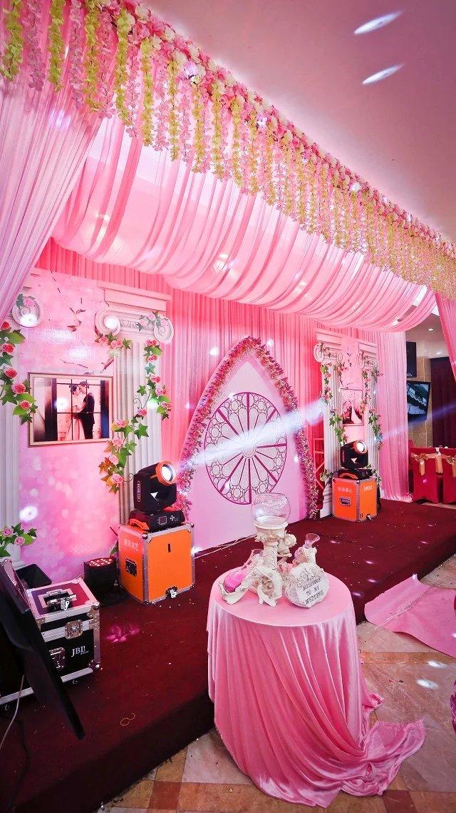 欧式粉色浪漫led婚礼舞台布置